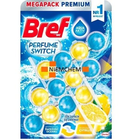 Bref Perfume Switch Świeżość Oceanu Cytrus Zawieszka do WC 3x50g