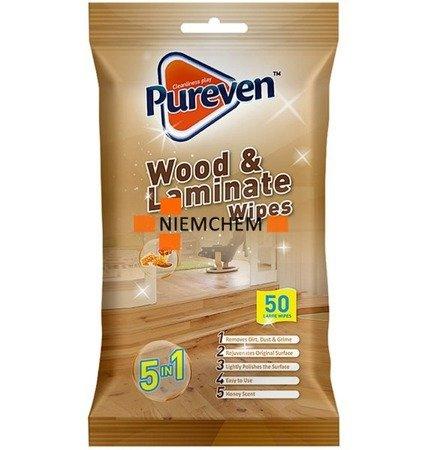 Pureven Chusteczki Czyszczące do Drewna 50szt  UK